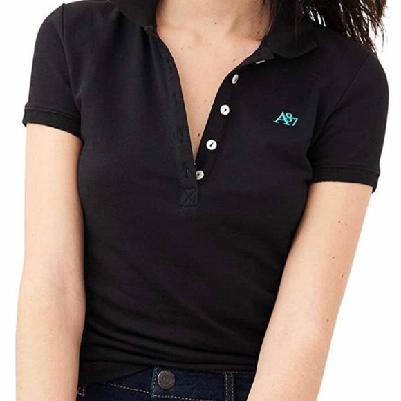 0cba1cb22 Aeropostale Tops | Aropostale Junior Girls Black A87 Logo Piqu Polo ...